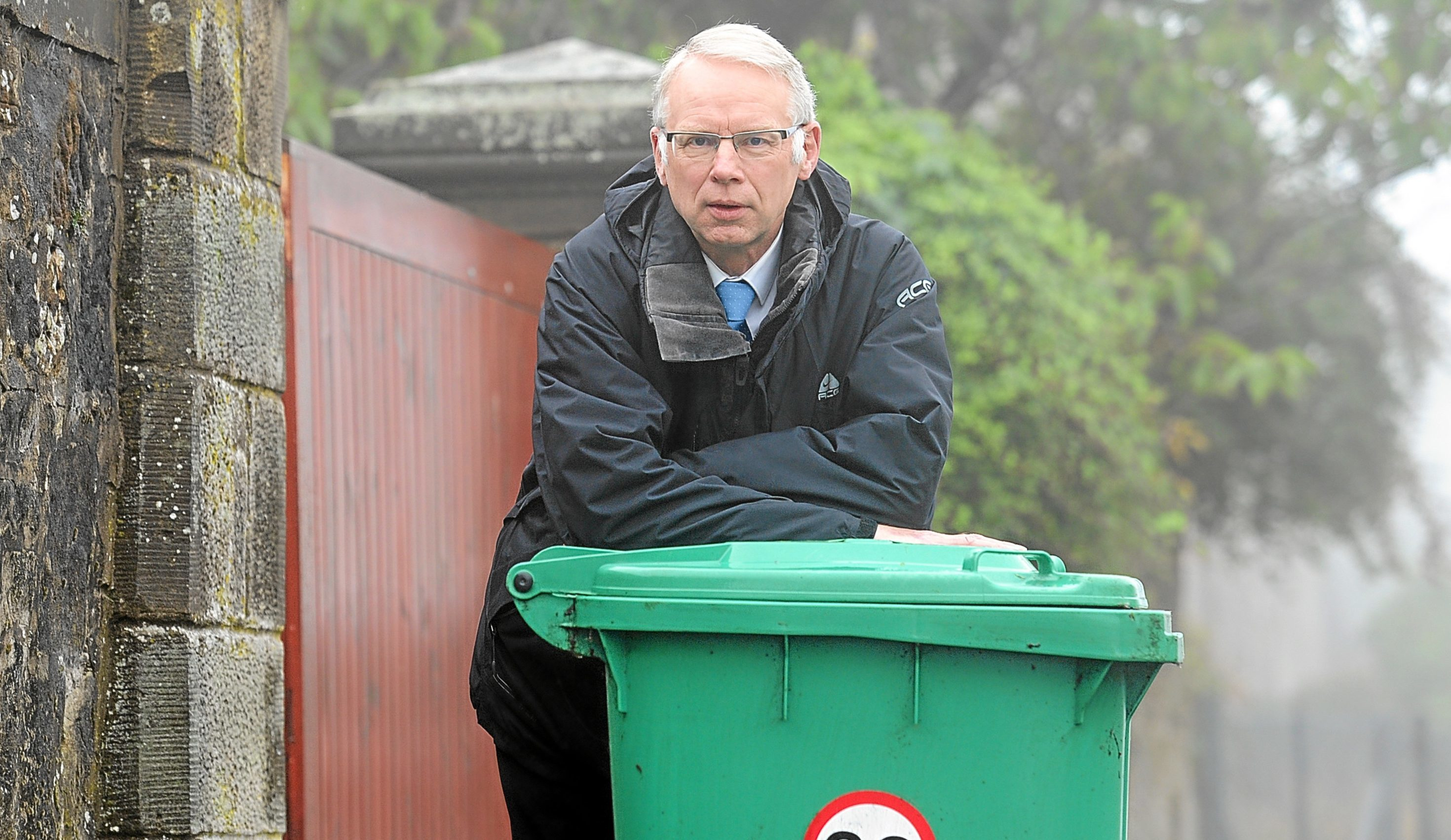 Glenrothes councillor John Wincott with one of his bins.