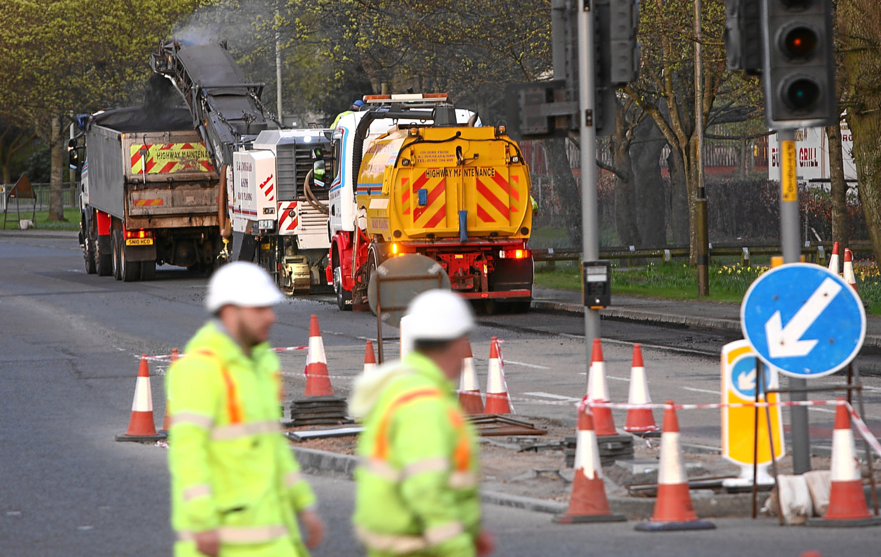 Workers on the A85 at Crieff Road in Perth.