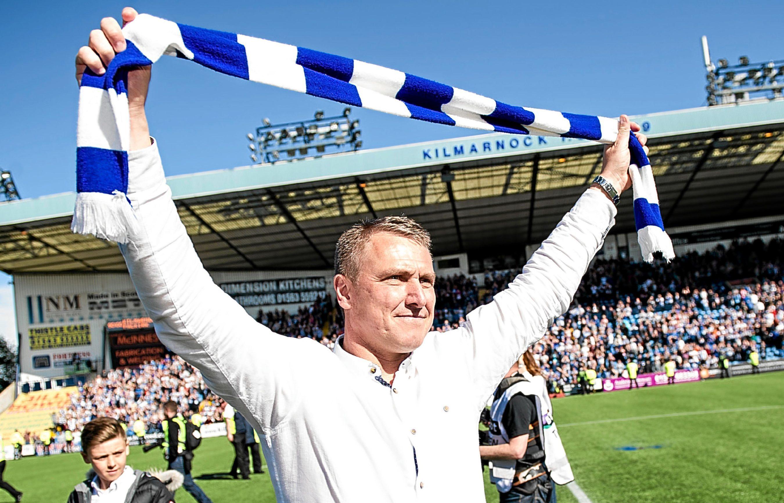 Kilmarnock manager Lee Clark celebrates at full time.