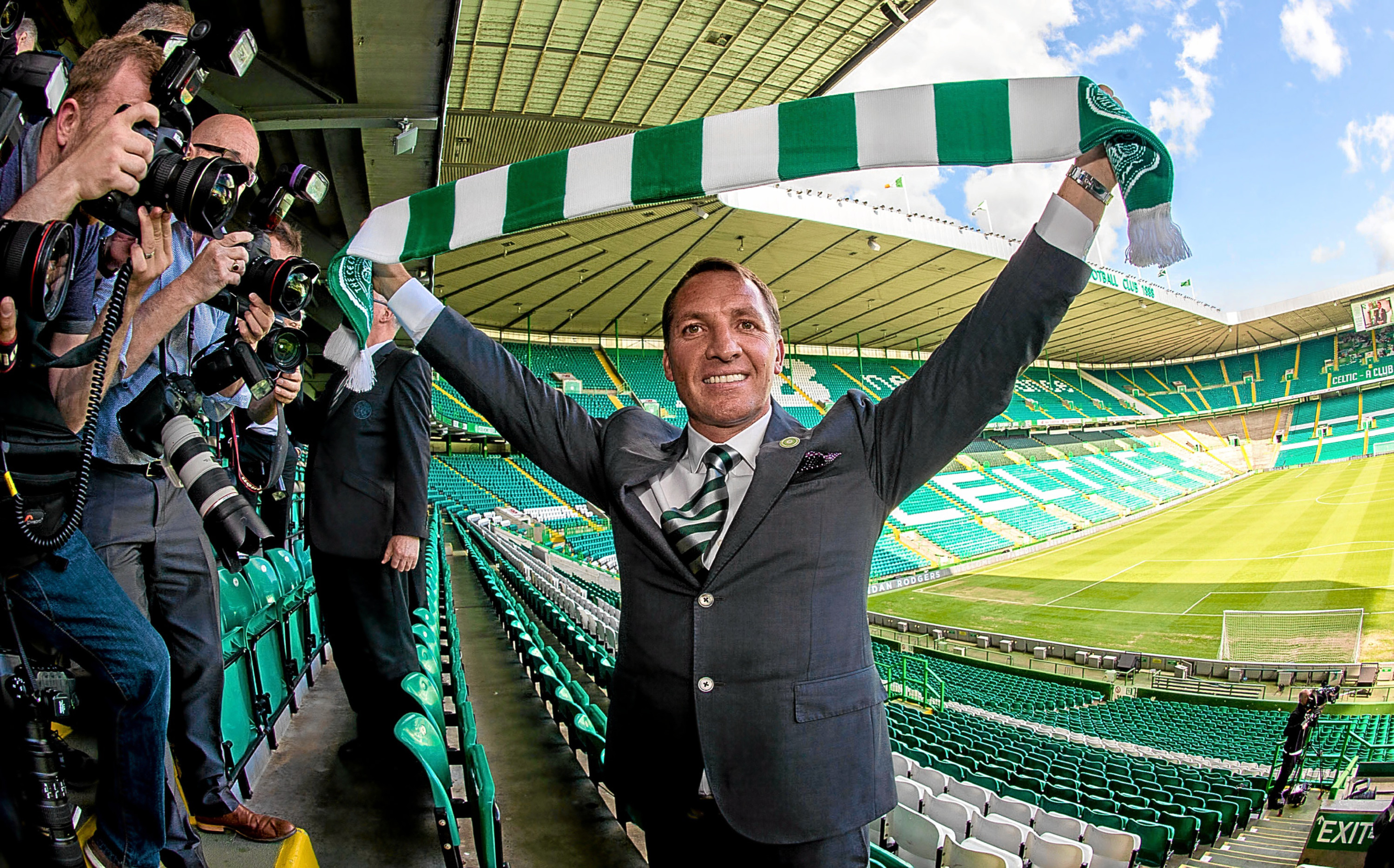 Brendan Rodgers arrives at Celtic Park.