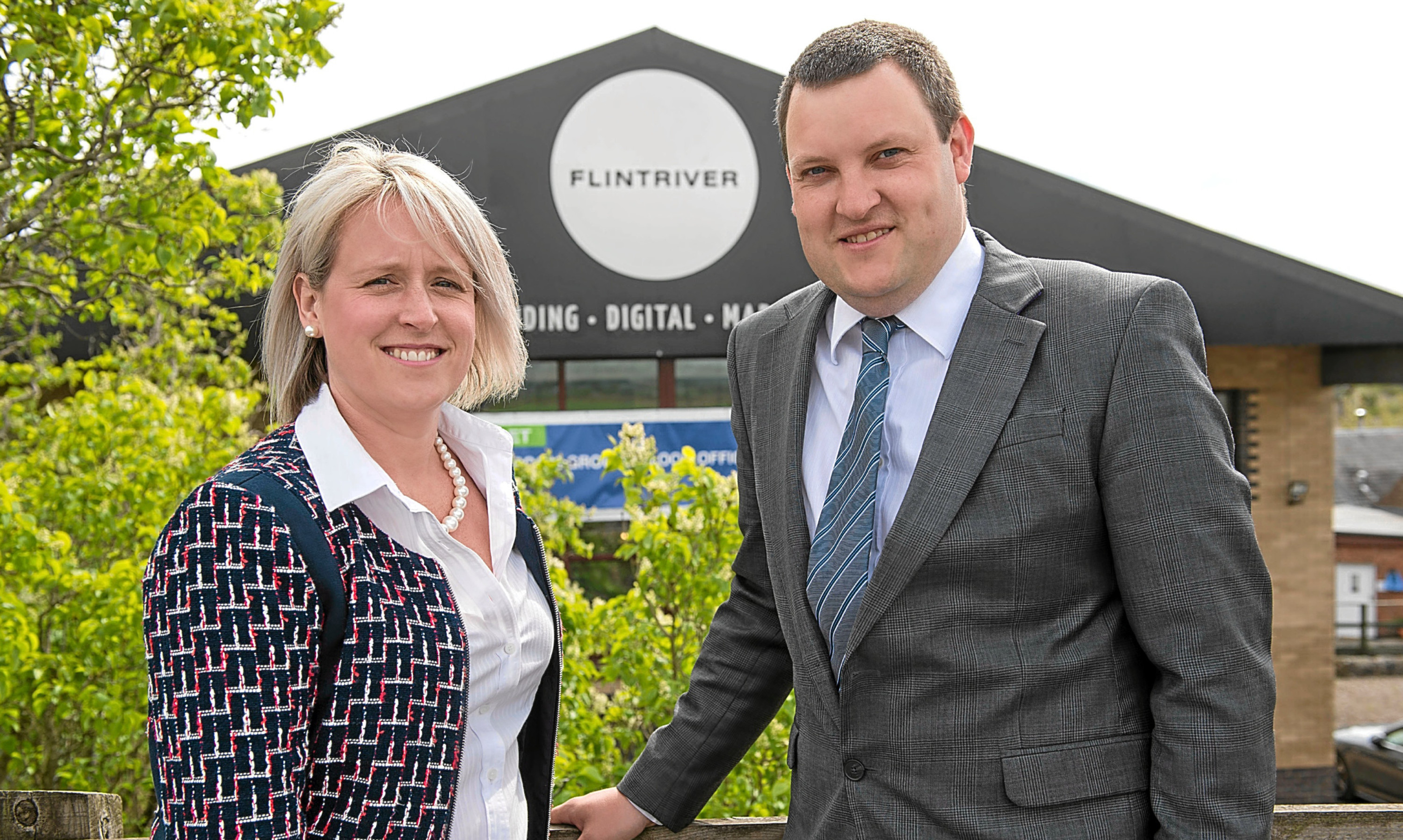 Carrie-Ann Stuart of Milnathort based Flintiver design agency with  Adam Rintoul of Bank of Scotland