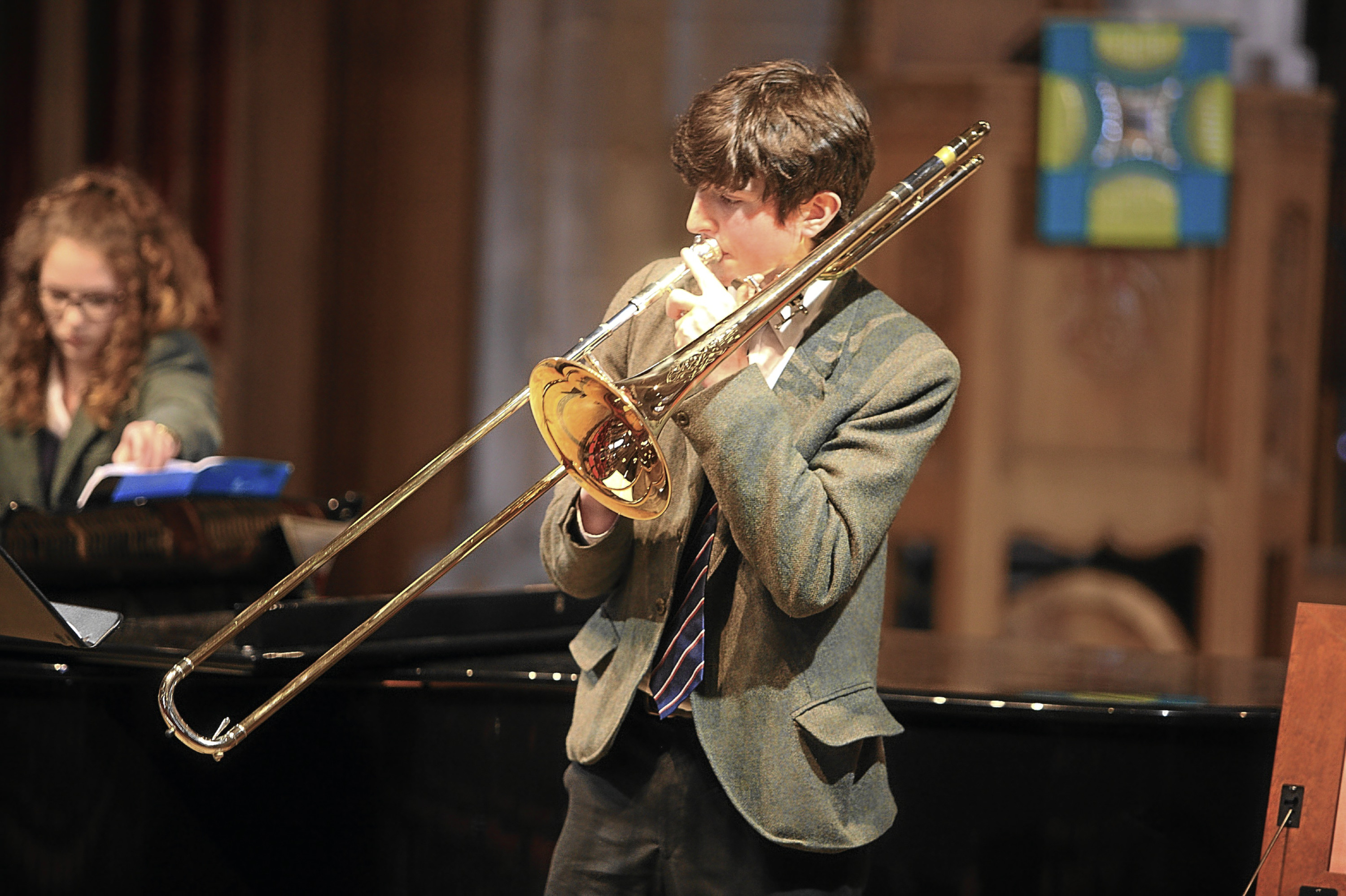Glenalmond pupil Angus Grierson plays at St John's Kirk in Perth.