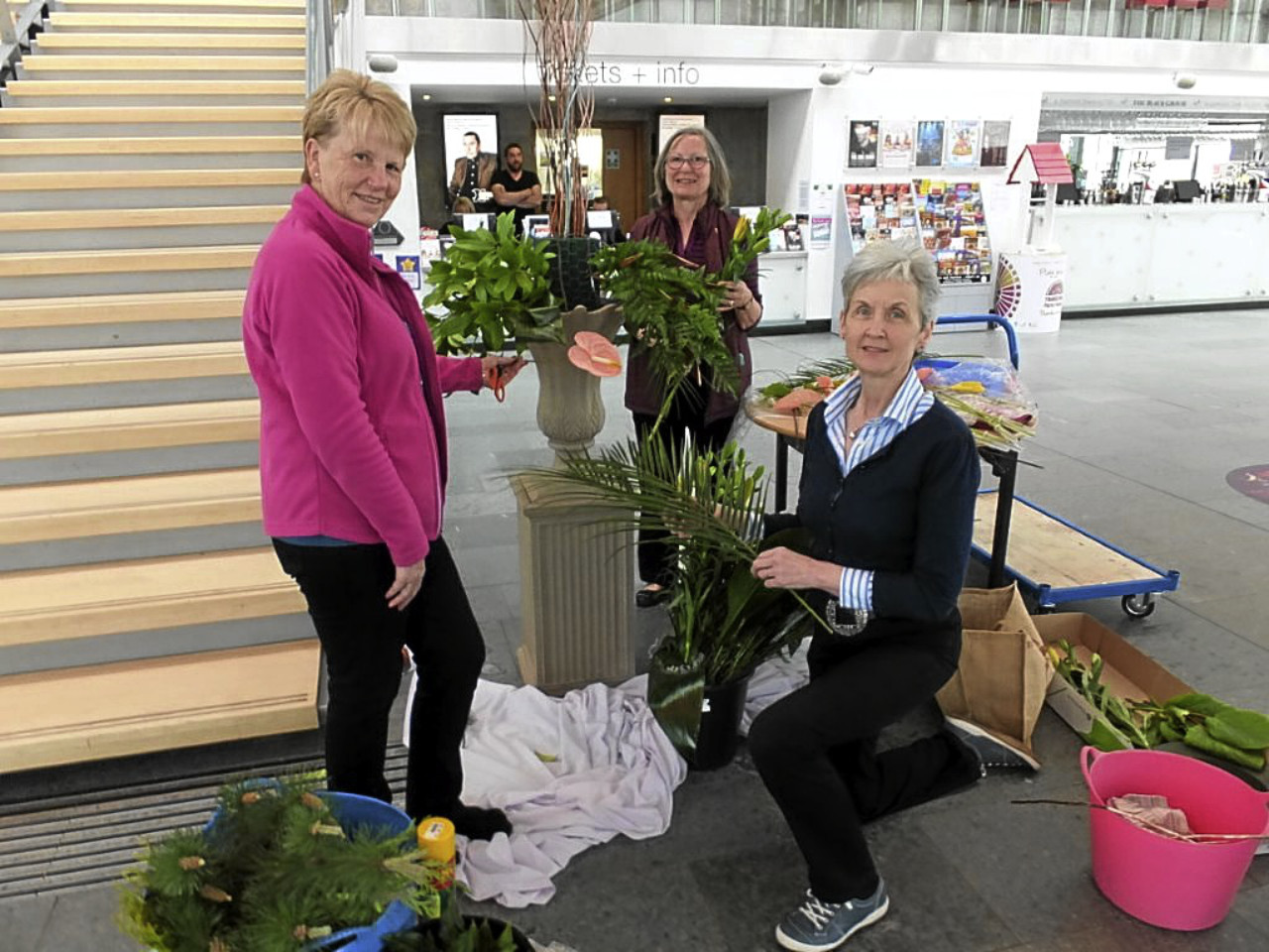 Perth Flower Club members Helen Jackson, Maggie Corke and Janice Sloan decorating the Concert Hall for Perth Festival of the Arts.