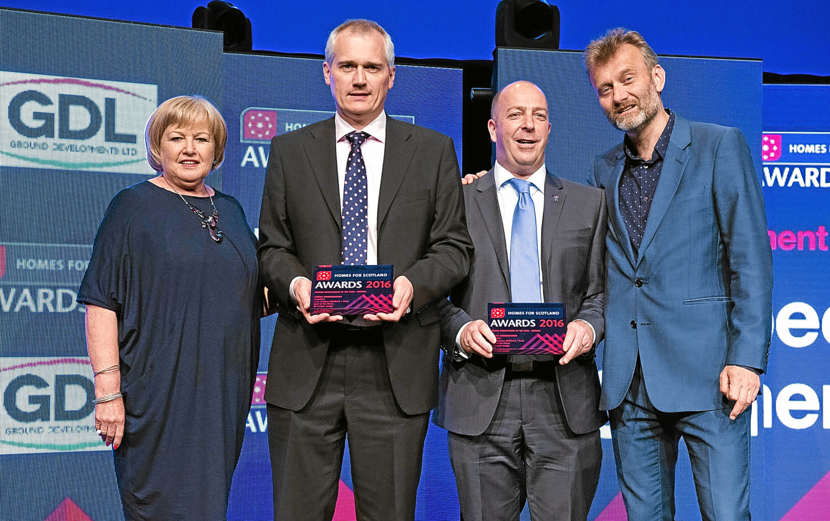 From left: Chair of the independent judging panel Kareen Davidson, John Stephen of A&J Stephen, Andy Lawson of Zero C with host Hugh Dennis.