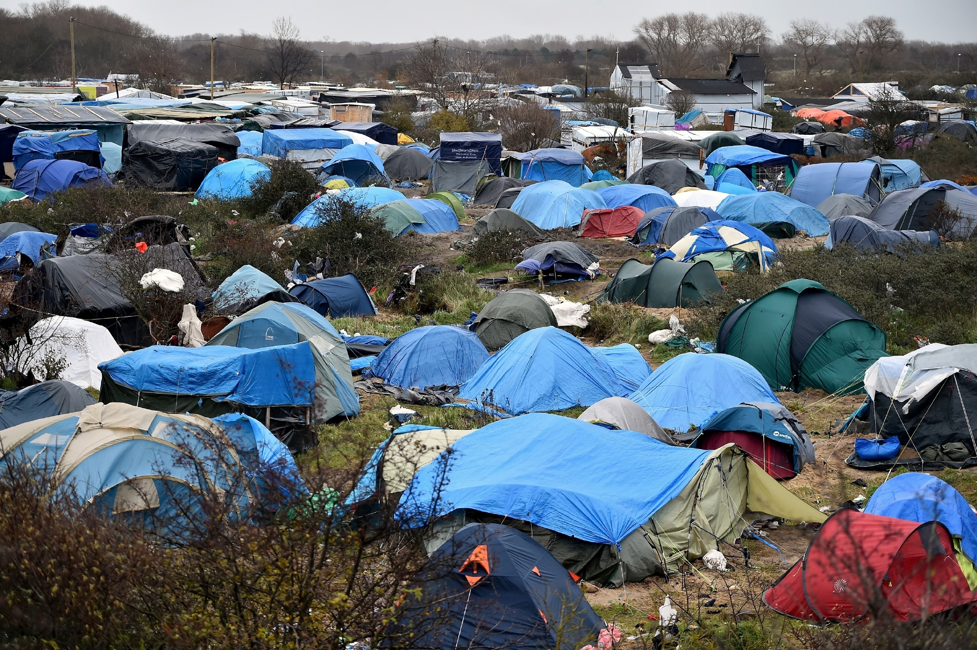 Migrant camps in Calais, France.