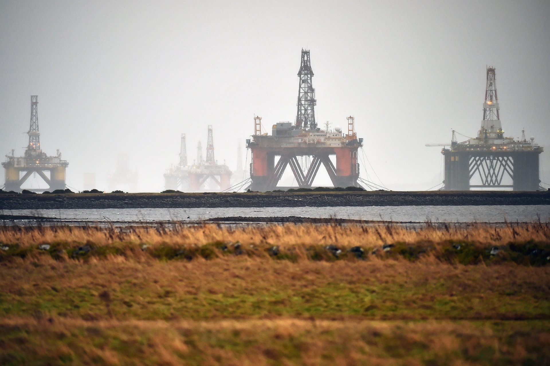 Rigs standing idle in the Cromarty Firth.