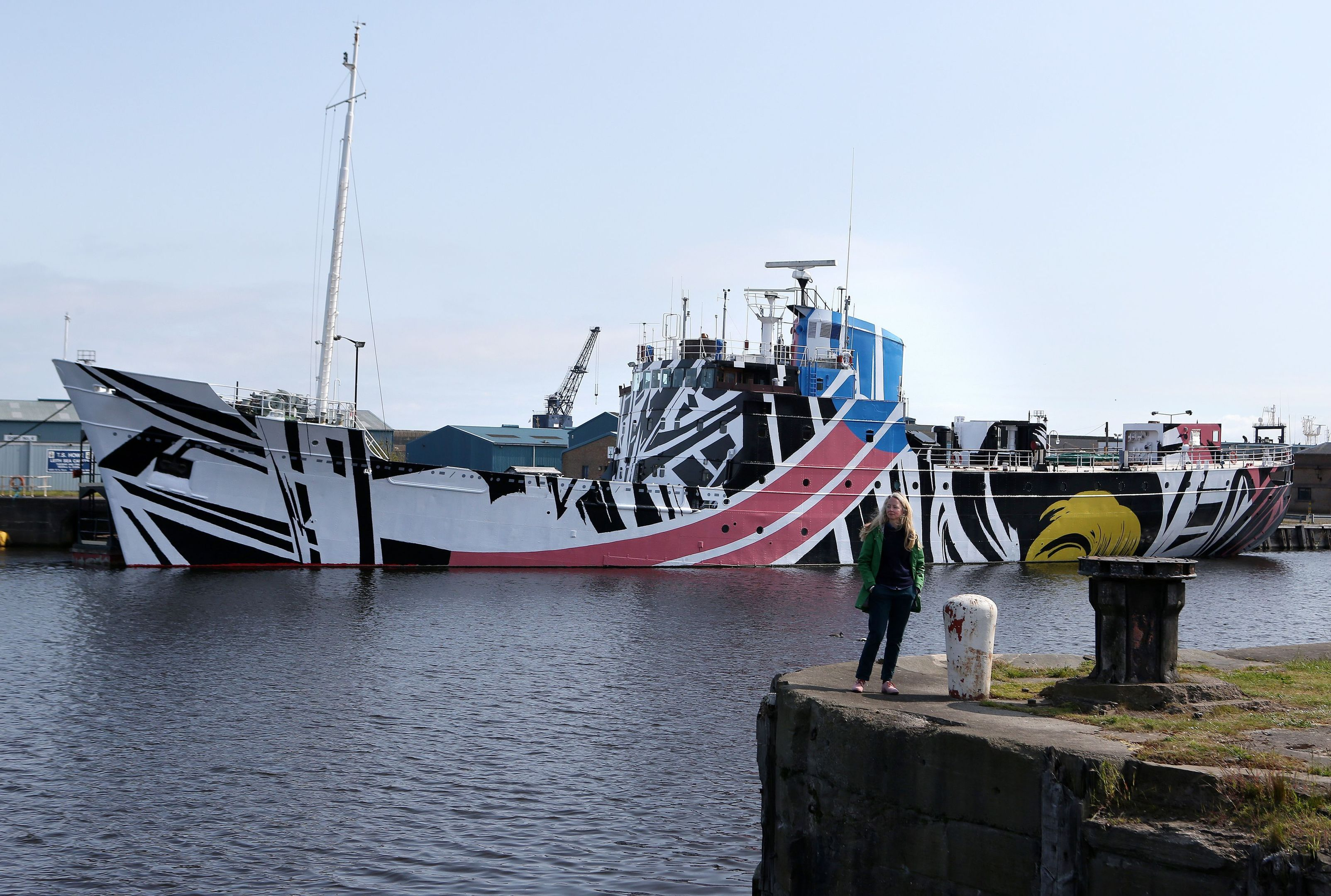 """Ciara's design is the fourth in a series of """"Dazzle Ships"""" by contemporary artists to coincide with First World War commemorations and the centenary of the Battle of Jutland."""