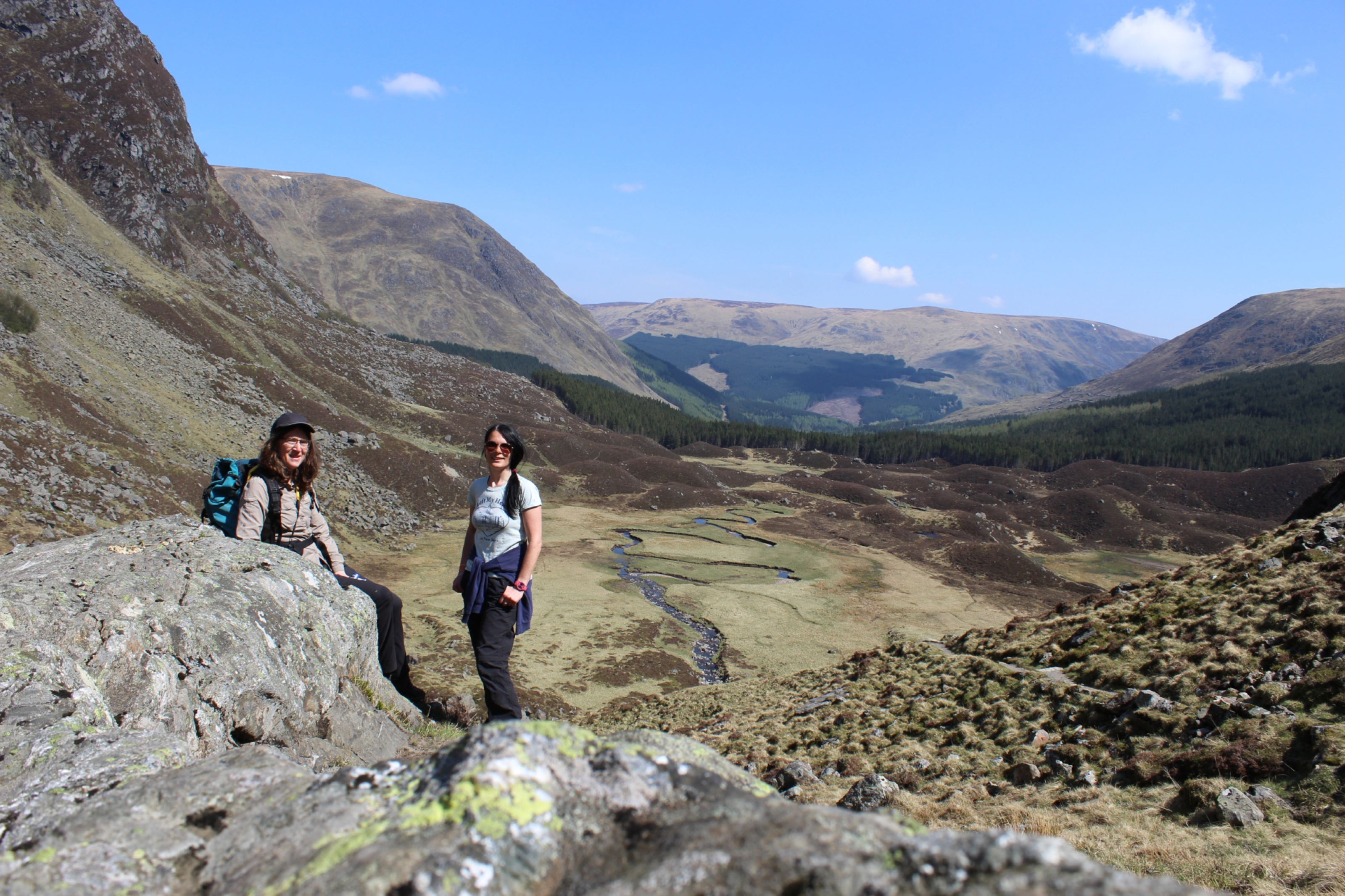 Lisa King and Gayle Ritchie in Corrie Fee, in the heart of the Angus Glens.