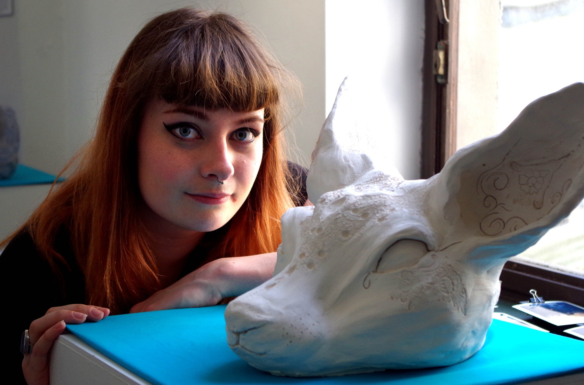 "HND contemporary art student Emily Findlay with ""Tip""."