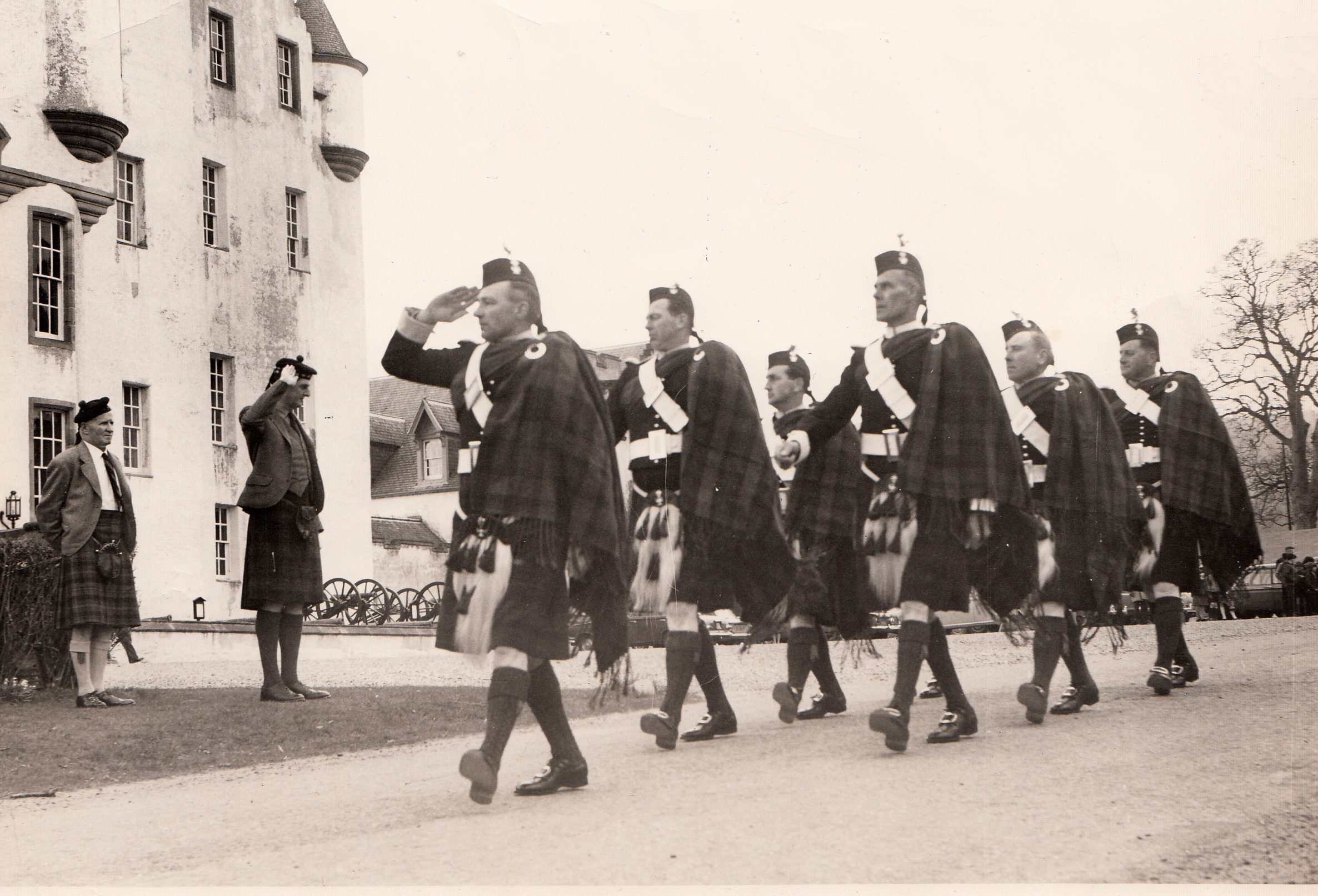 The 10th Duke of Atholl receiving the salute from the Atholl Highlanders.