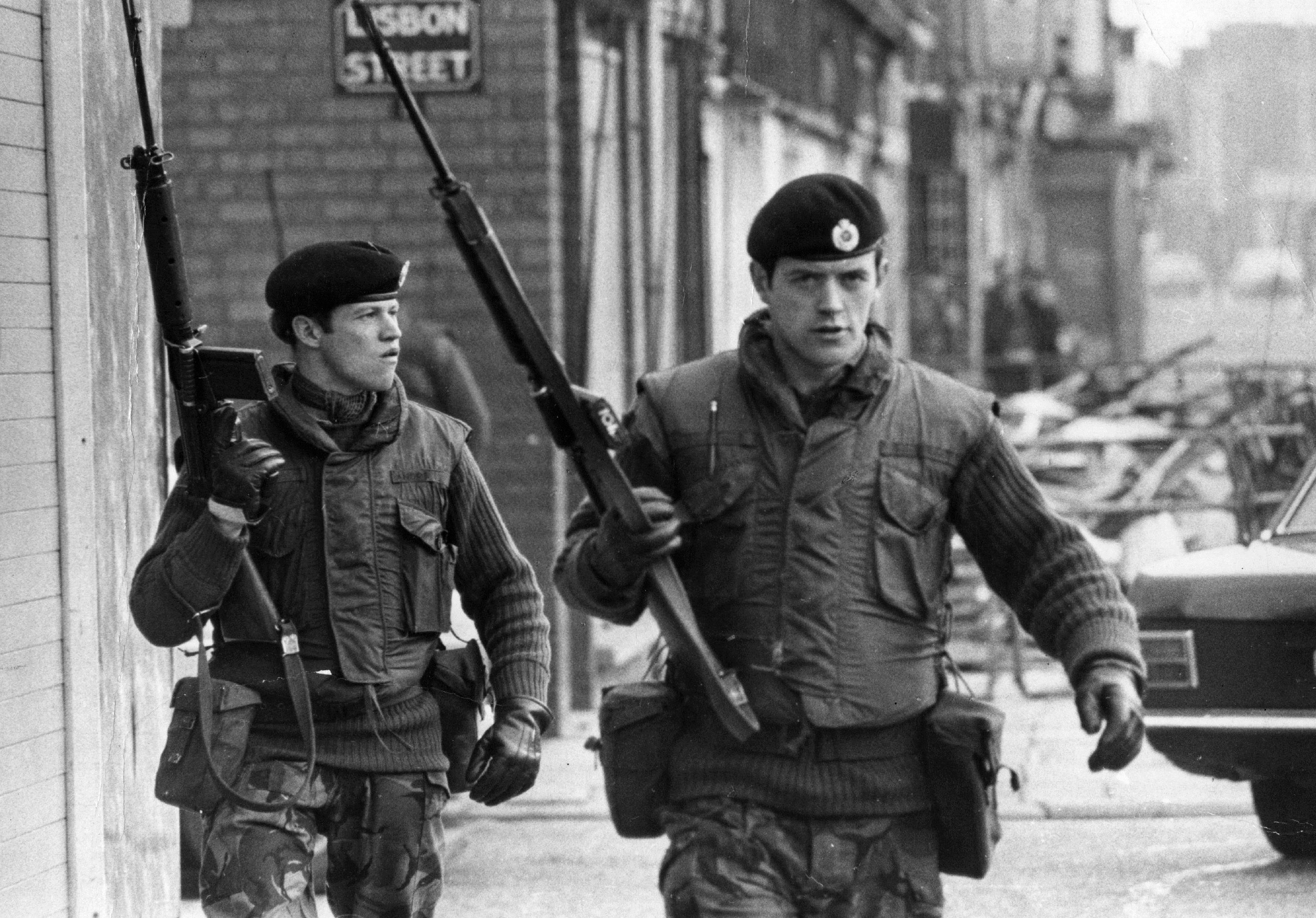 British soldiers on Lisbon Street, Belfast, during an IRA ceasefire in 1972