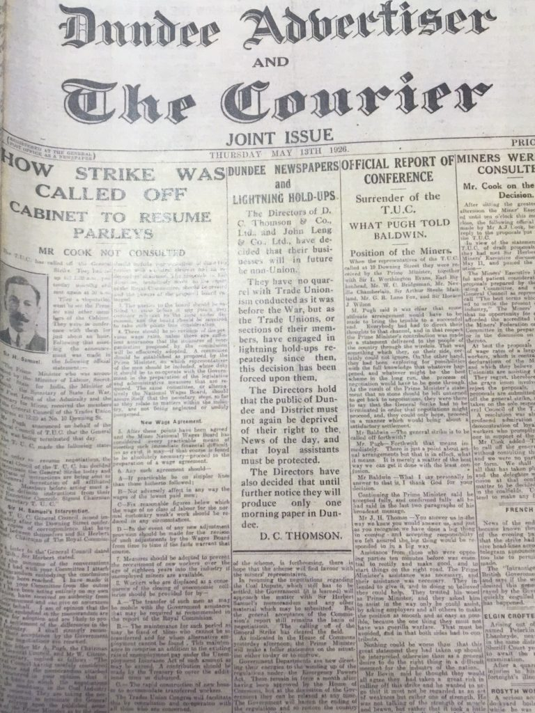 The front page of the Dundee Advertiser and The Courier on May 13 1926 announced DC Thomson Co Ltds non-trade union stance