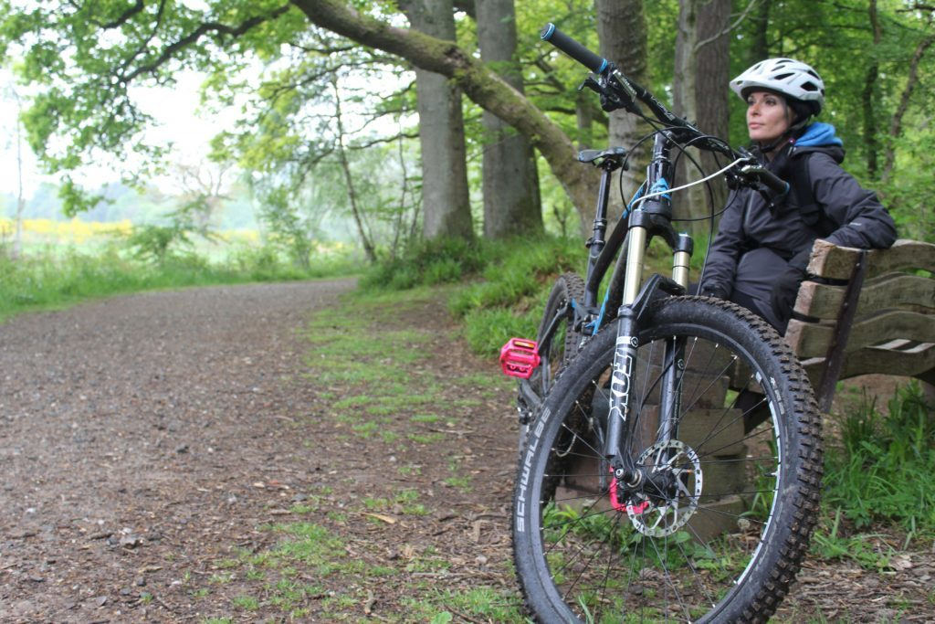 Gayle takes a break during a cycle along Lady Mary's Walk between Comrie and Crieff.
