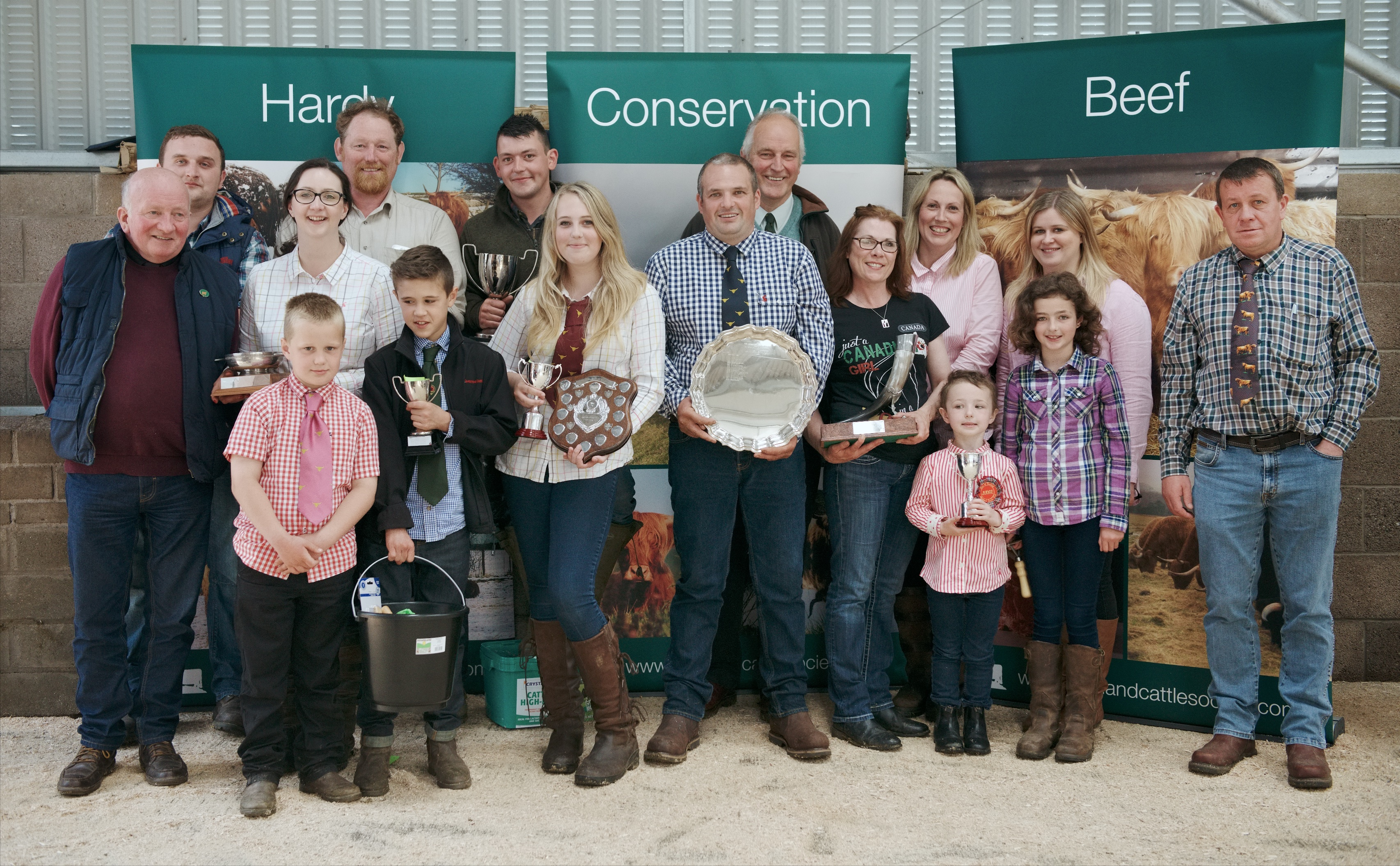 Prize winners at the East Highland Cattle Club show at Forfar mart