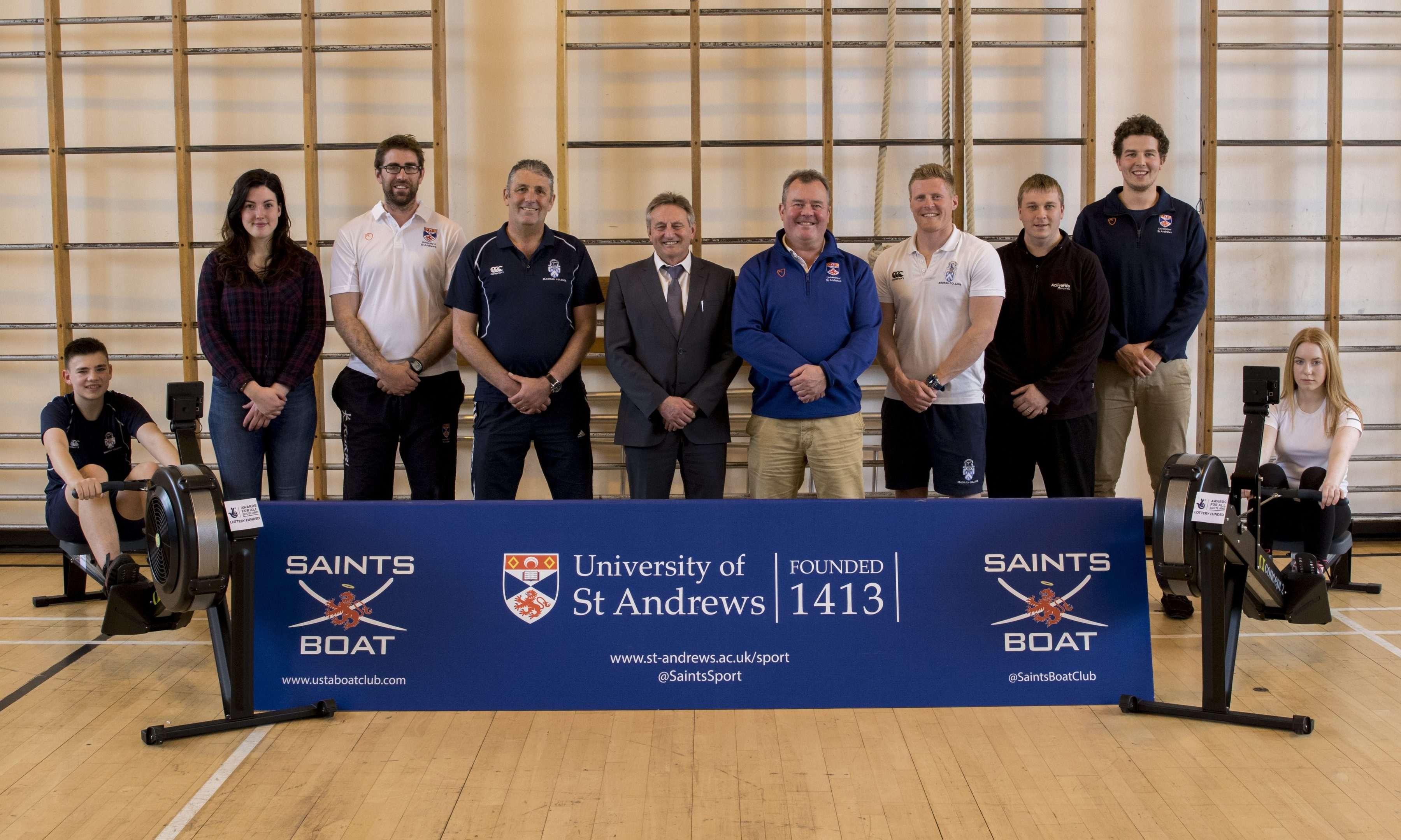 (L to R) Ben Smart (Madras), Charlotte Horsman (Saints Boat Club), Iain Rice (University of St Andrews Director of Rowing), Jim Tarvet (Principal Teacher of PE, Madras College), David McClure (Rector of Madras College), Stephen Stewart (University of St Andrews Director of Sport), Chris Martin (P.E. Teacher, Madras College), Michael Kavanagh (Sports Development Officer for Active Fife, Fife Council), Ed Woolgar (Saints Boat Club), Hannah Traill (Madras)