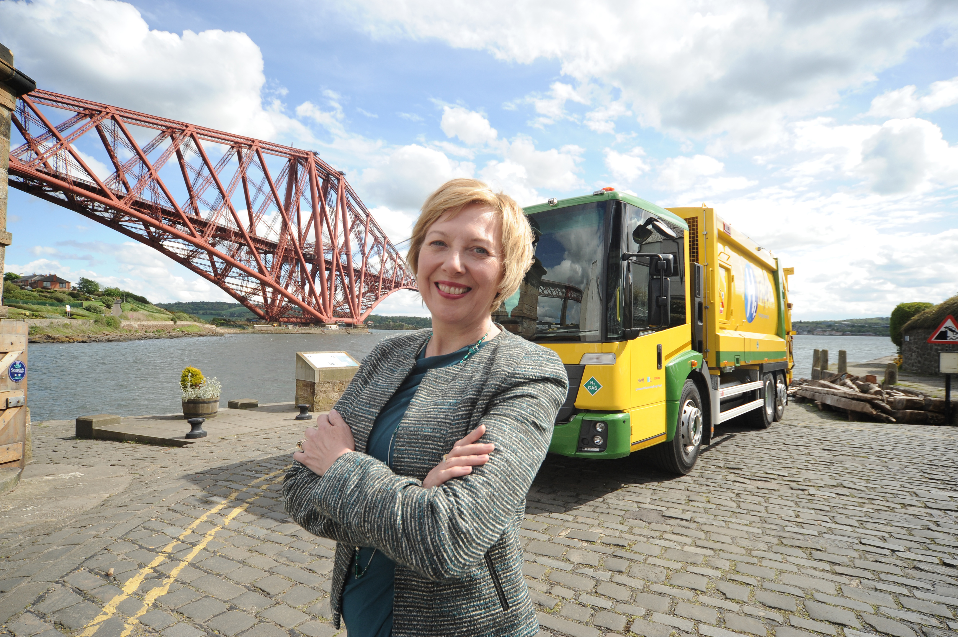 Cllr Lesley Laird with the new dual-fuel bin lorry.