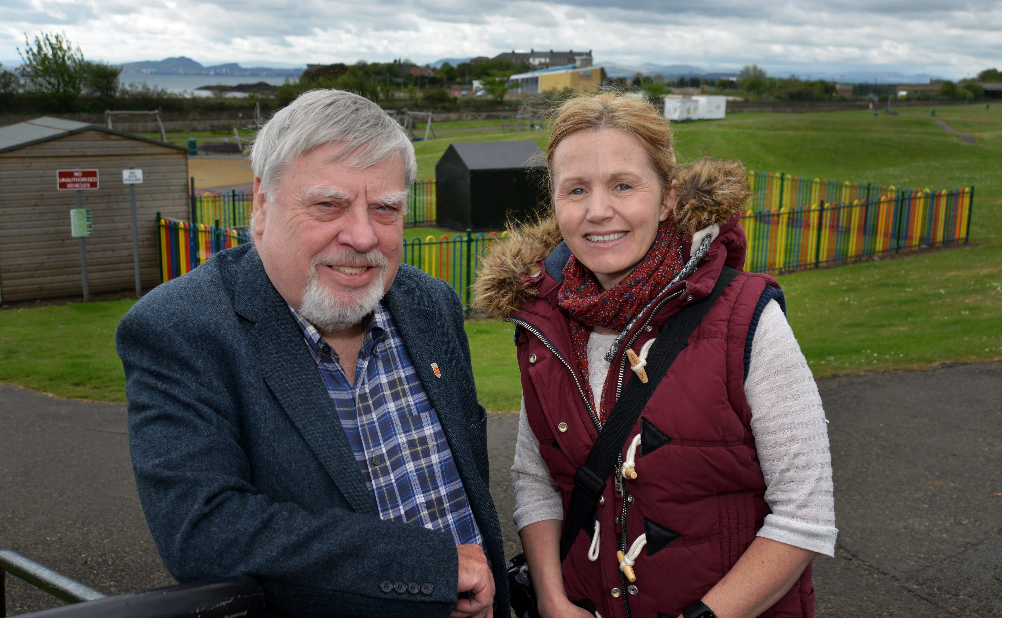 Councillor George Kay and Claire Campbell at the play park.