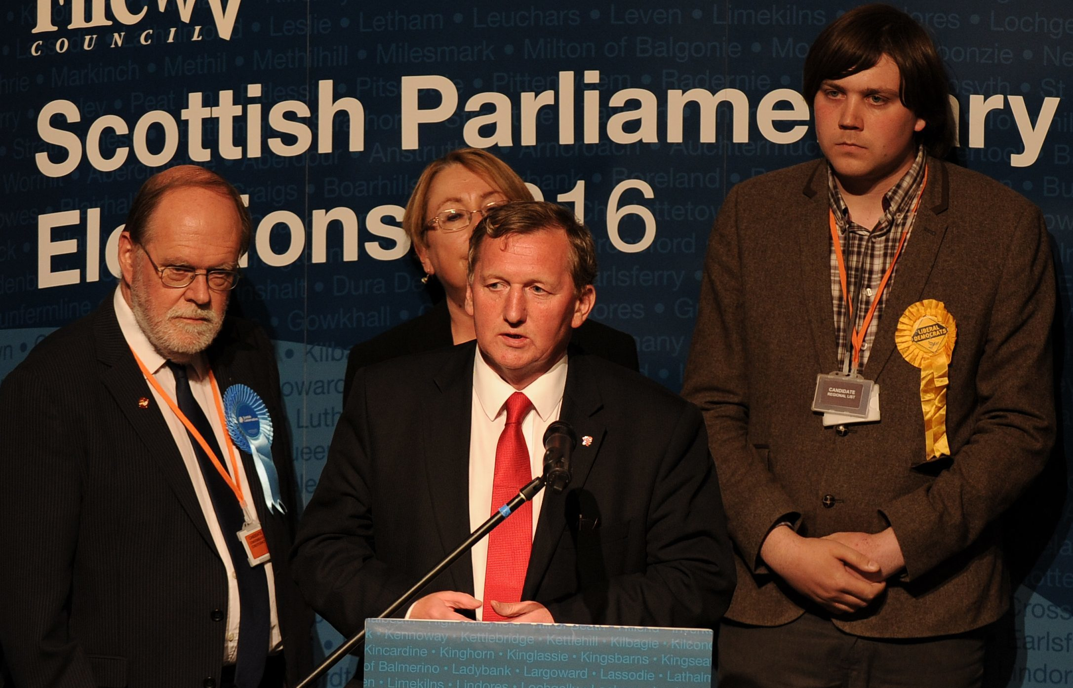 Alex Rowley speaks after losing to Annabelle Ewing in Cowdenbeath.