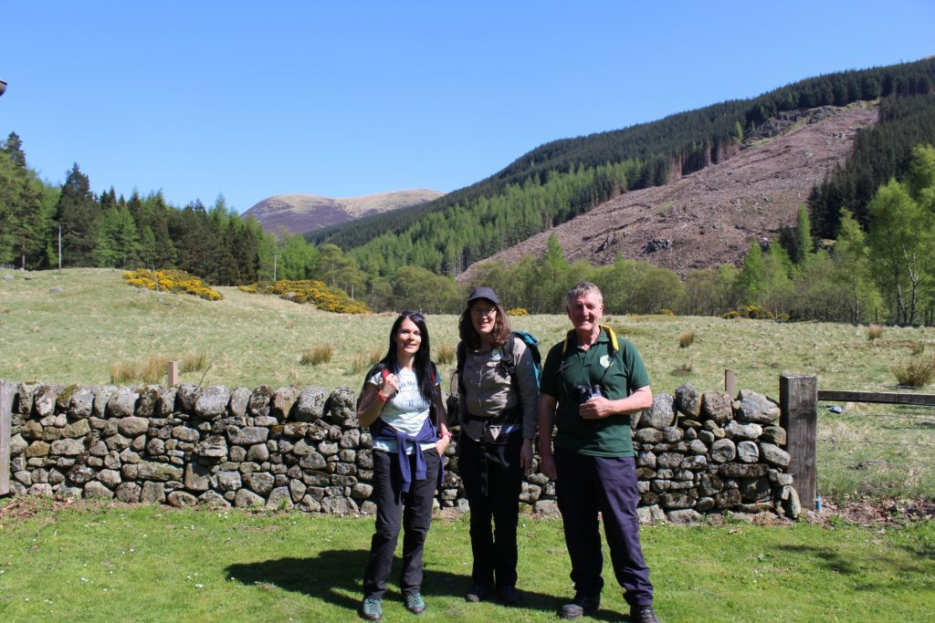 Gayle with Angus Rangers Lisa King and Hugh Bell in Glen Doll.