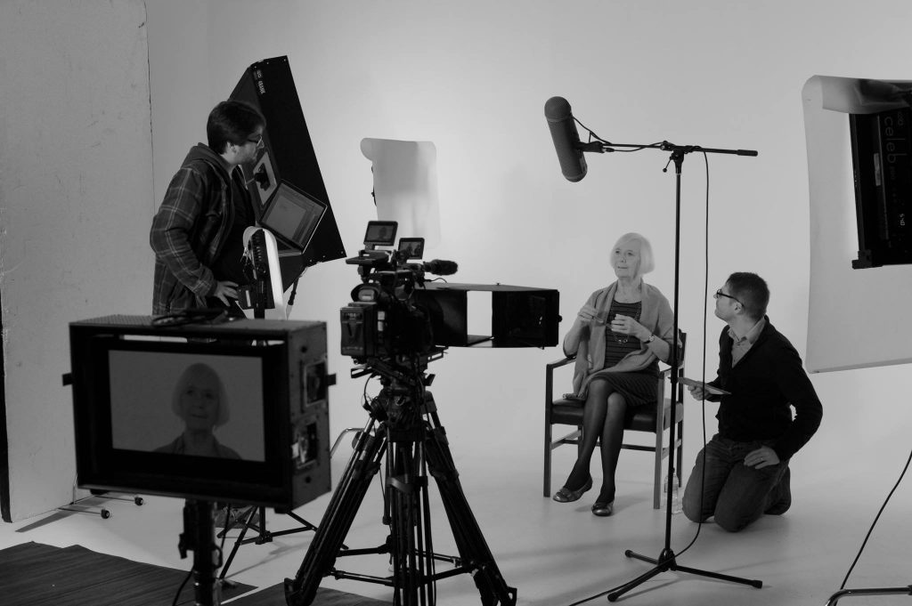 Dolina Maclennan, writer Kevin MacNeil and director Robbie Fraser on the set of Hamish, Edinburgh, in October 2015