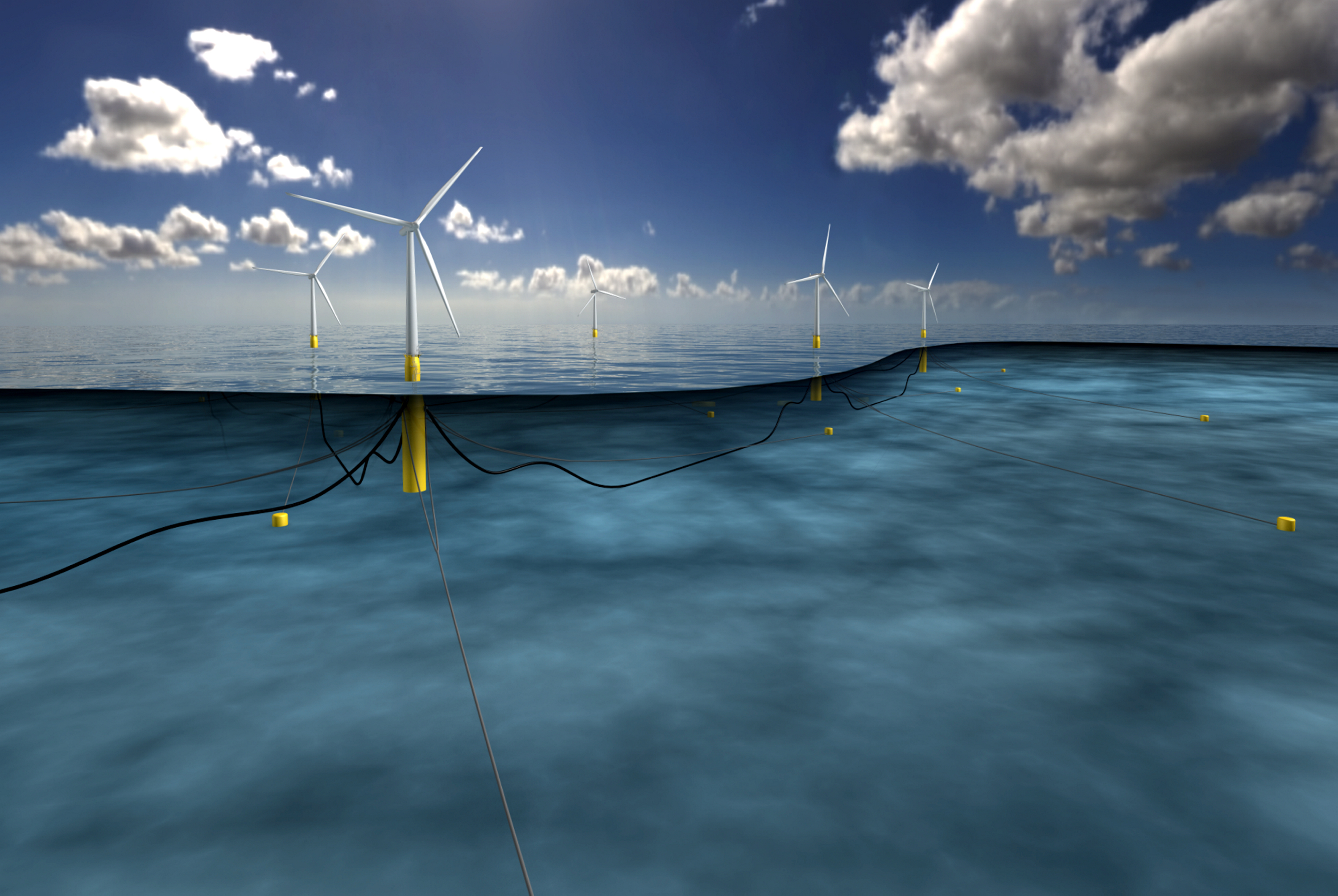 An impression of the Hywind project off Peterhead.