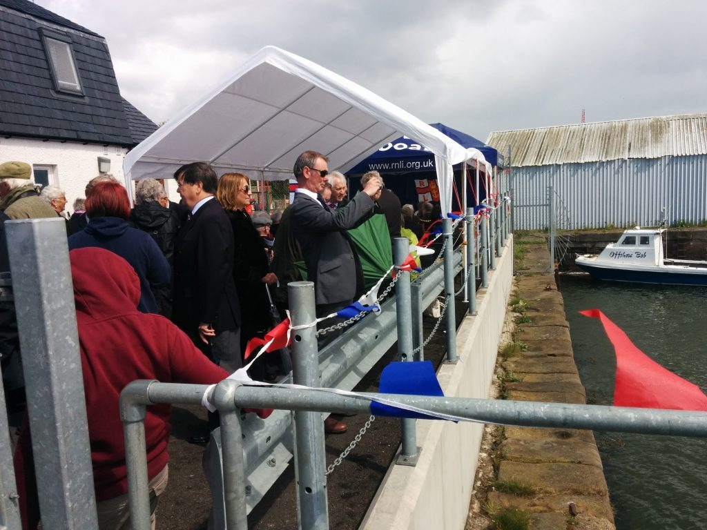 A busy scene at the Montrose Lifeboat Station during the naming ceremony.