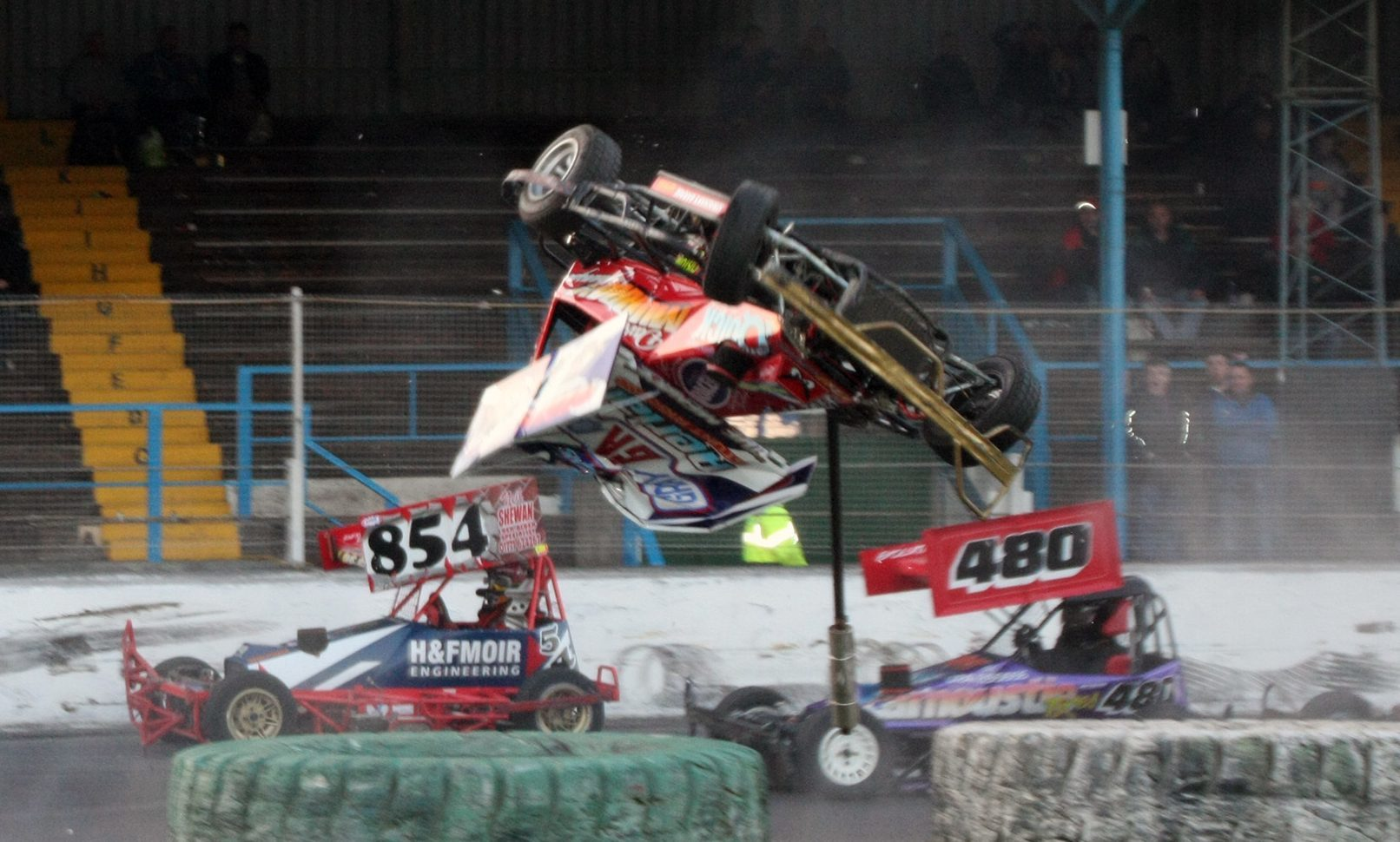 Dennis Middler catches air in the spectacular crash.