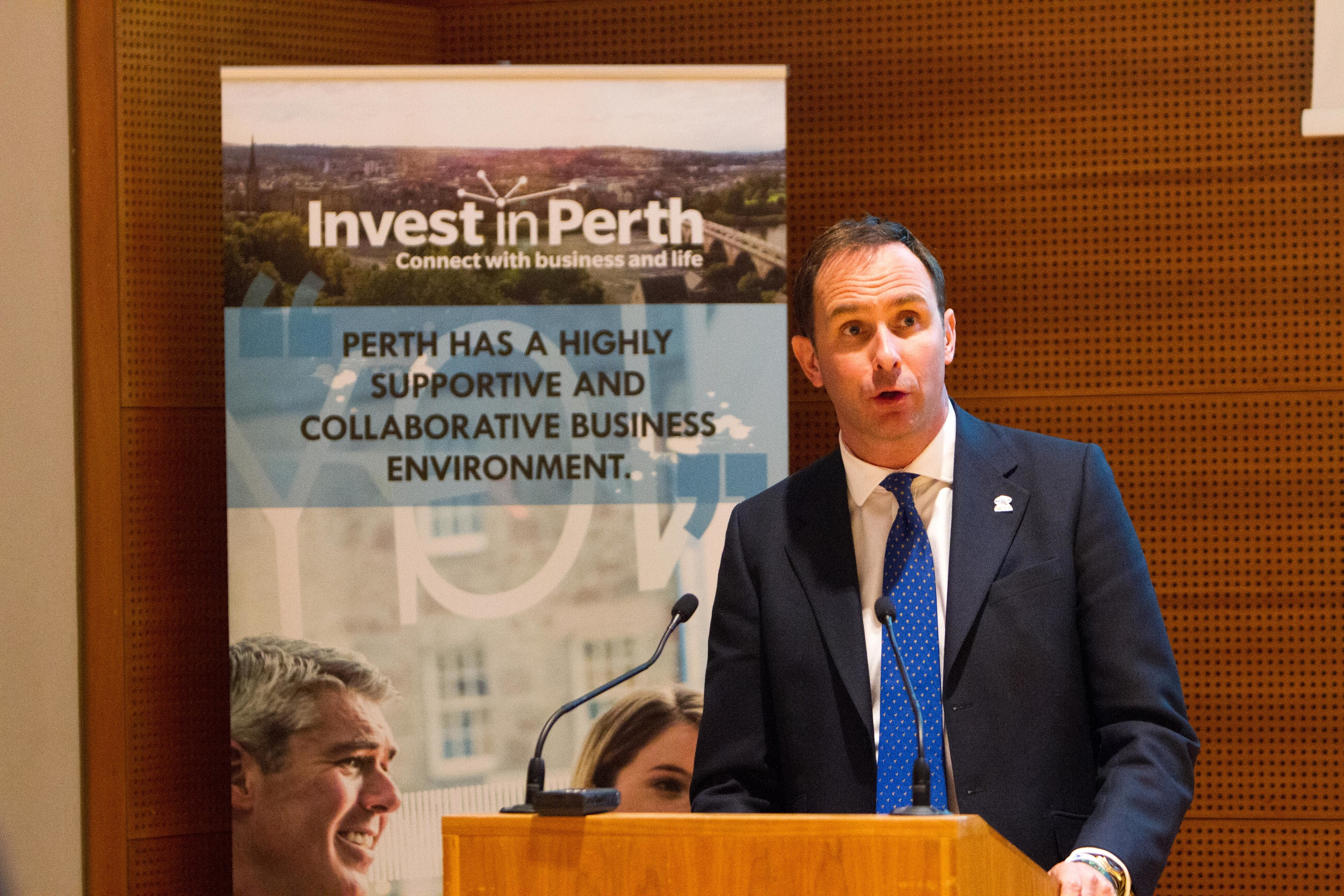 John Bullough speaking at an Invest in Perth meeting in 2015.