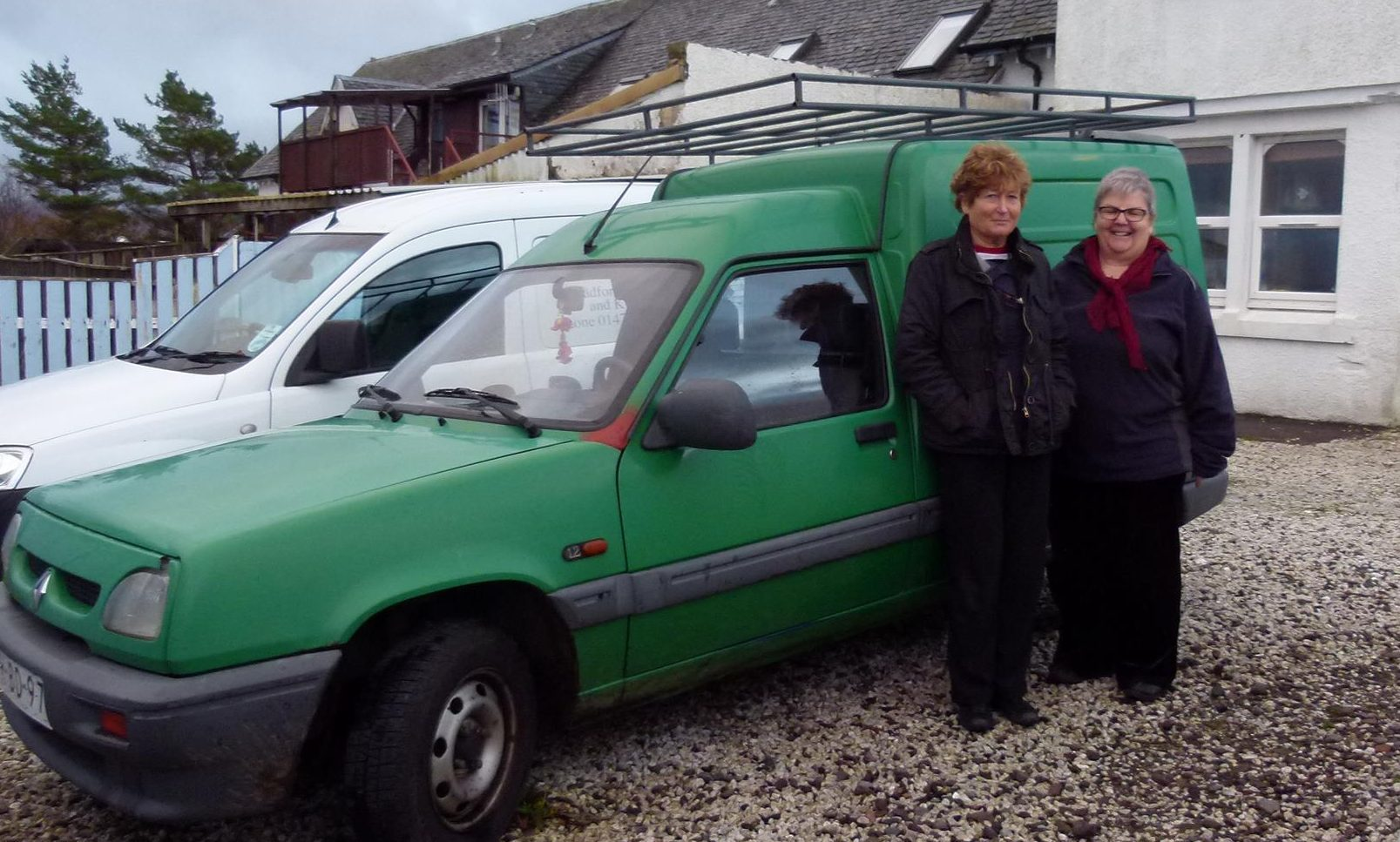 Kay and Anne with the van they hope will take them the distance.