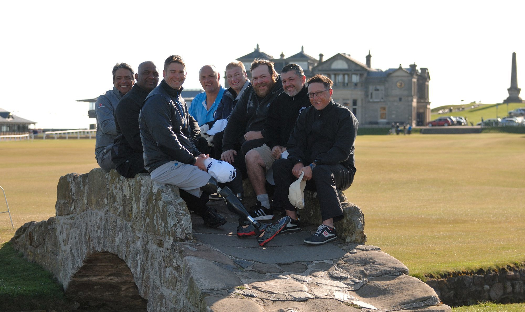 St Andrews Legacy participants on the Swilcan Bridge at the Old Course in 2016