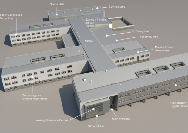A drawing of the new Levenmouth Academy.