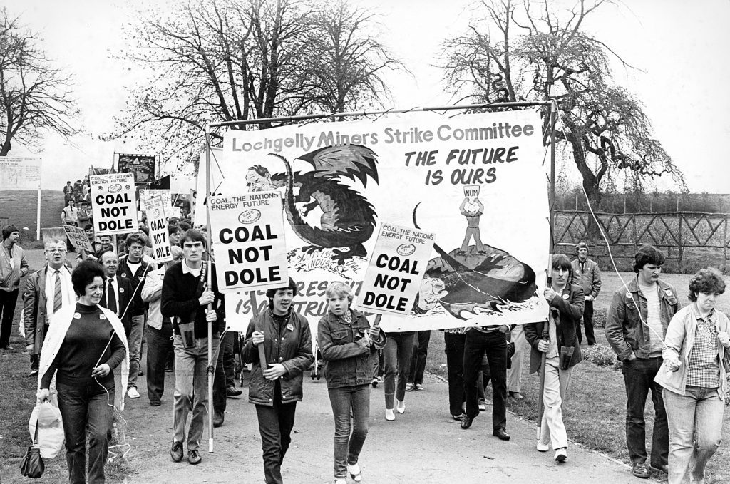 Fife miners join Dundee trade unionists for their traditional May Day march and rally from Baxter Park to City Square in 1984