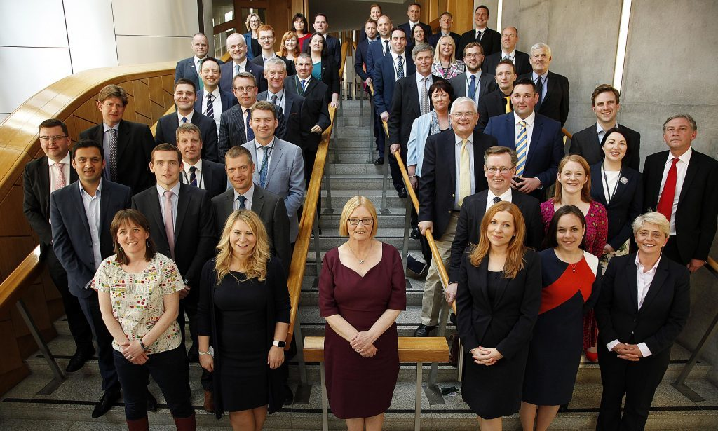 Presiding Officer Tricia Marwick with the new intake of MSPs who were elected to parliament.