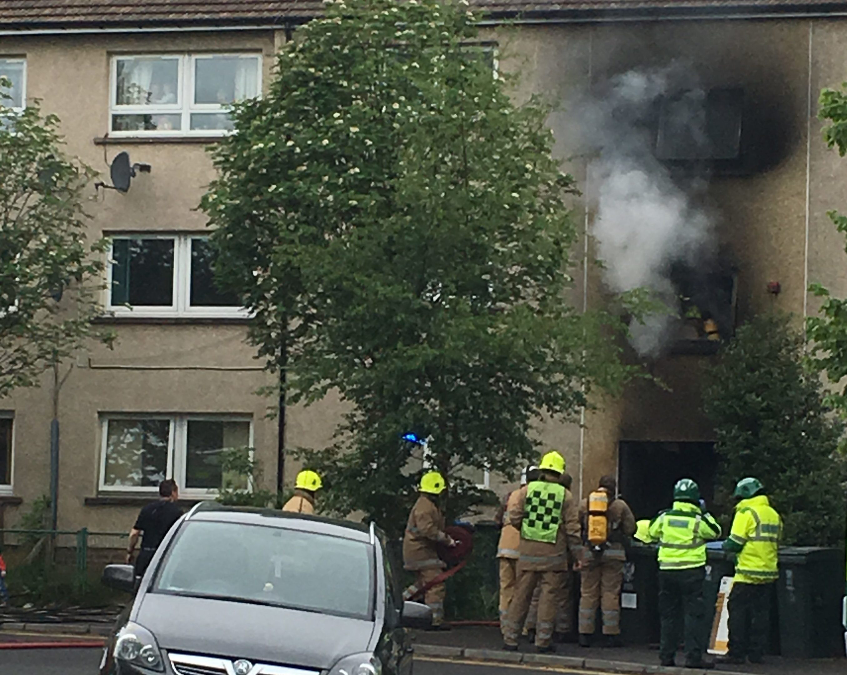 Thick black smoke billowed from flats in Newhouse Road after an explosion rocked the neighbourhood.