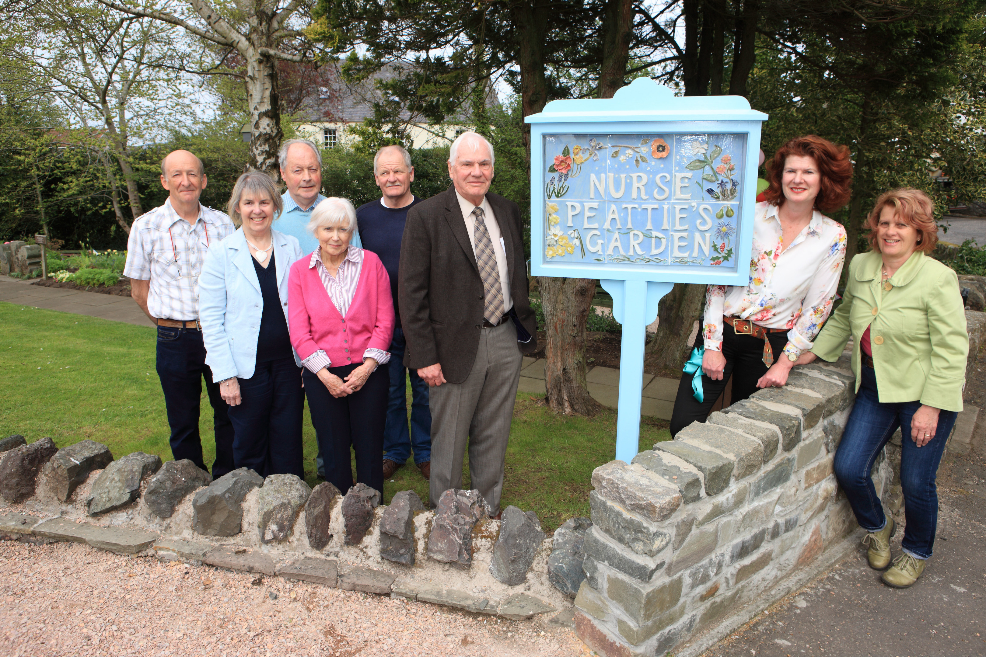 The unveiling of the sign at Nurse Peatties in Abernethy.