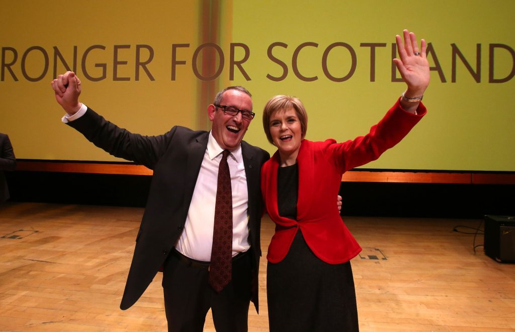 Nicola Sturgeon and Stewart Hosie after they were confirmed as leader and deputy in 2015.