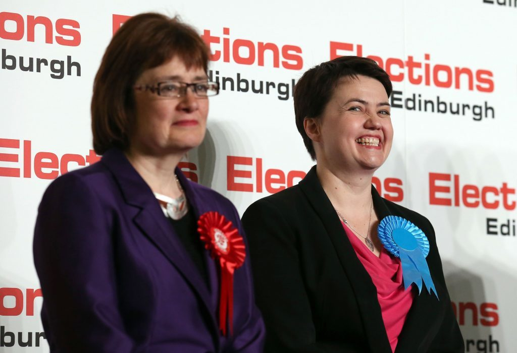 Sarah Boyack (left) was seen off by Conservative leader Ruth Davidson.