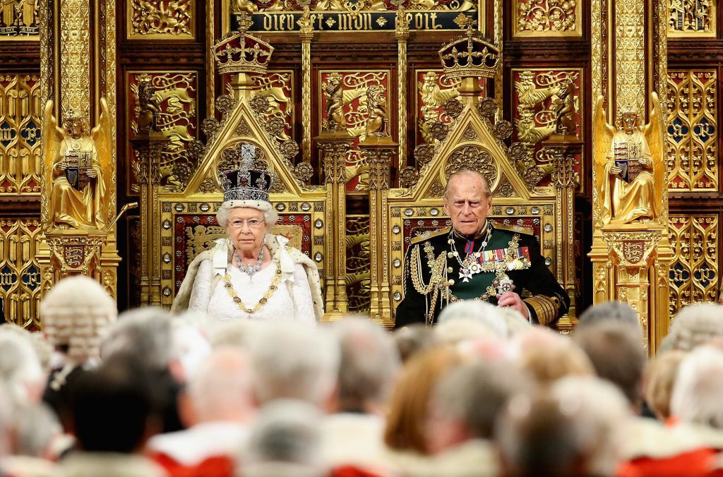 The Queen and Duke of Einburgh during the State Opening of Parliament.
