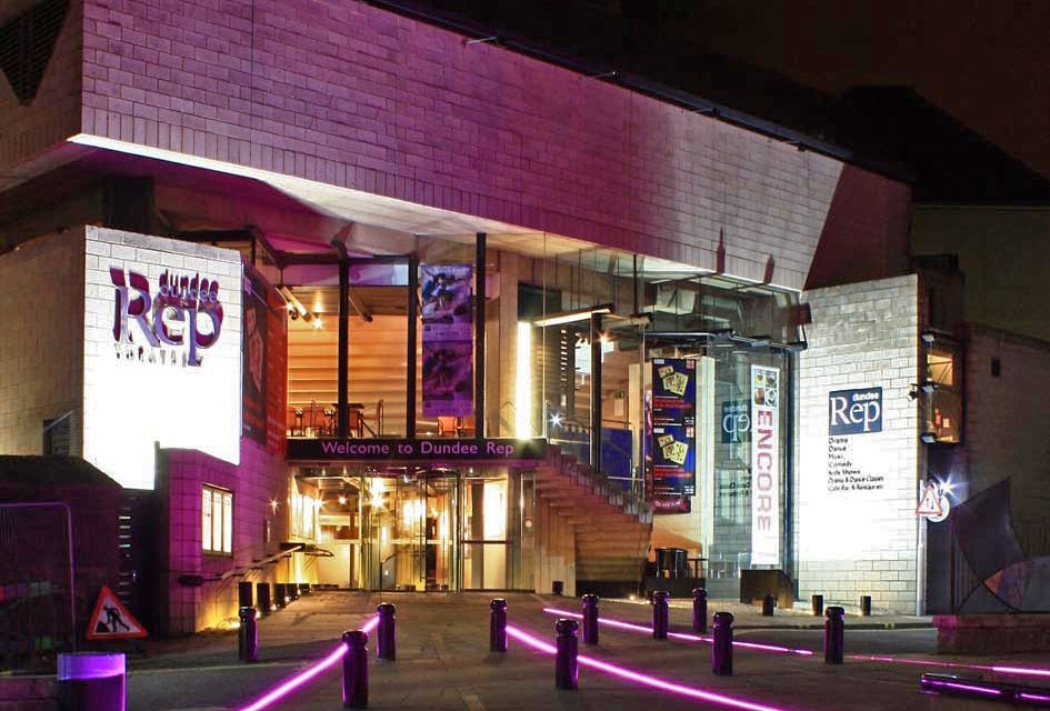 Dundee Rep Theatre at night, courtesy of the Rep Theatre.