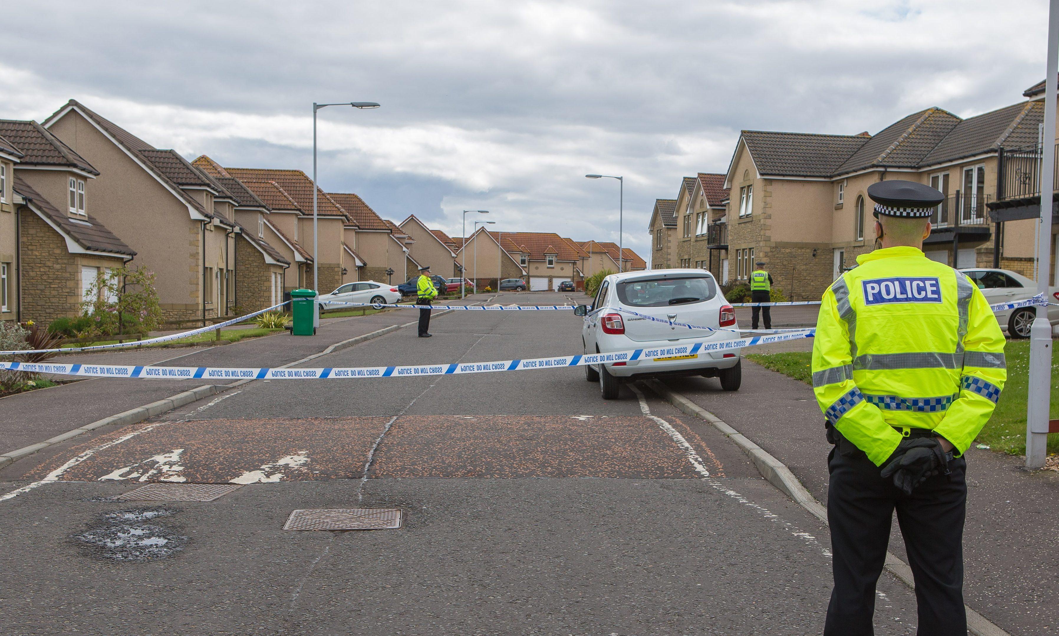 Police Scotland cordon off the scene after the reports of gunfire.