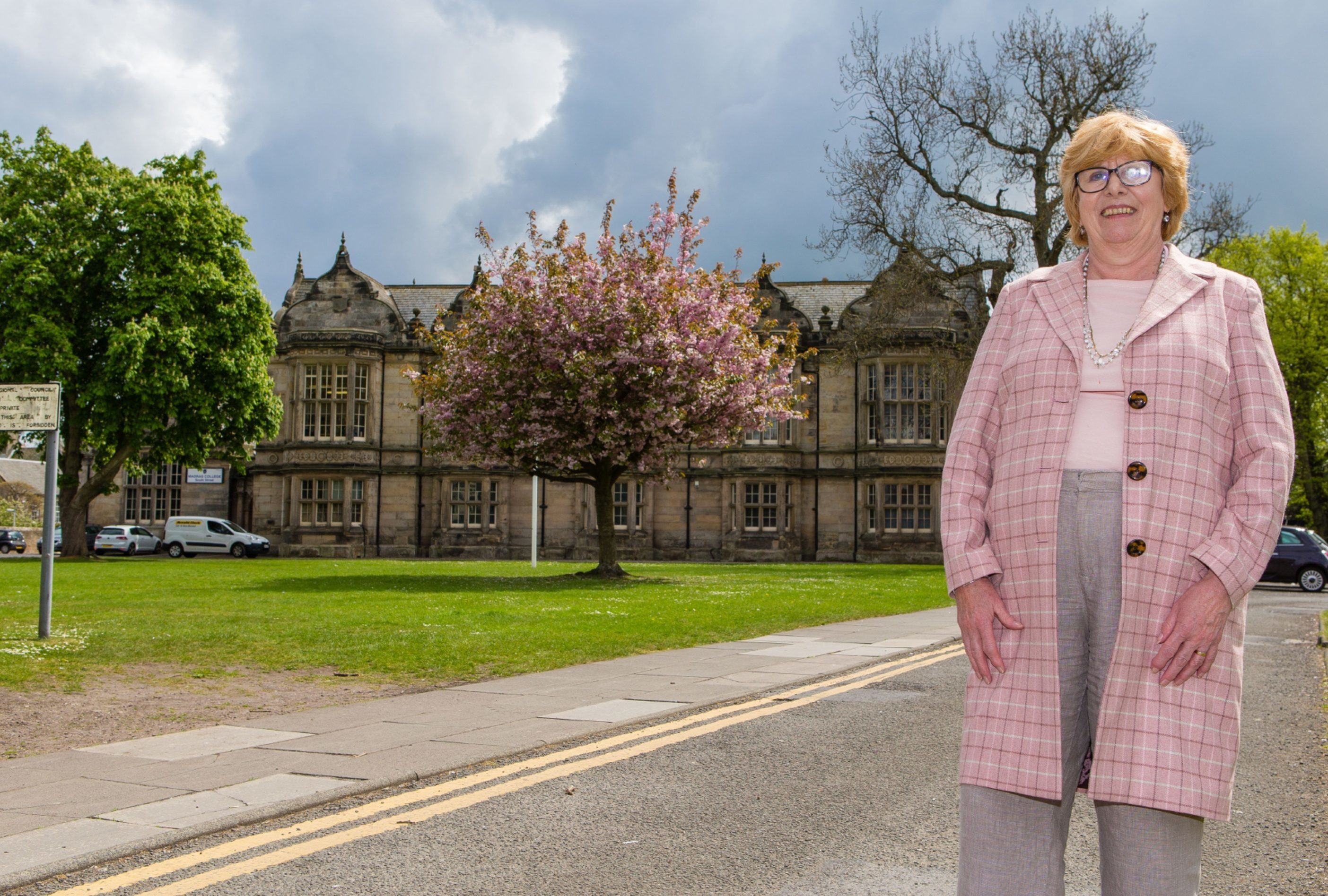 Councillor Dorothea Morrison outside Madras College in St Andrews.