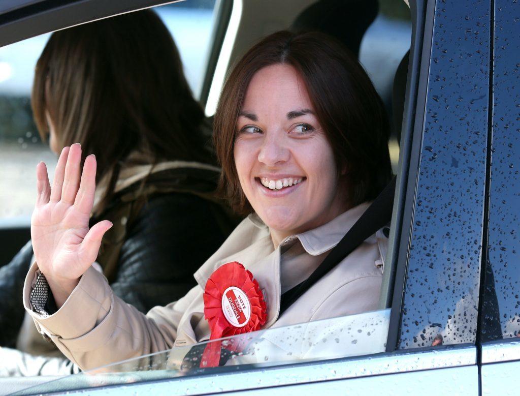 Scottish Labour leader Kezia Dugdale waves during a visit to Wonderworld soft play centre in Glasgow .