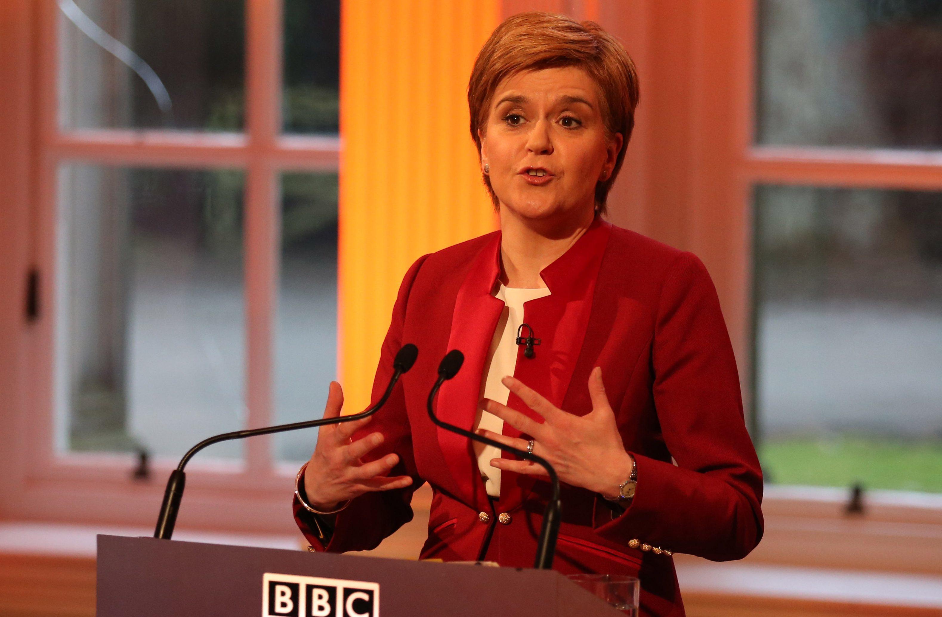 Nicola Sturgeon taking part in the final leaders debate.