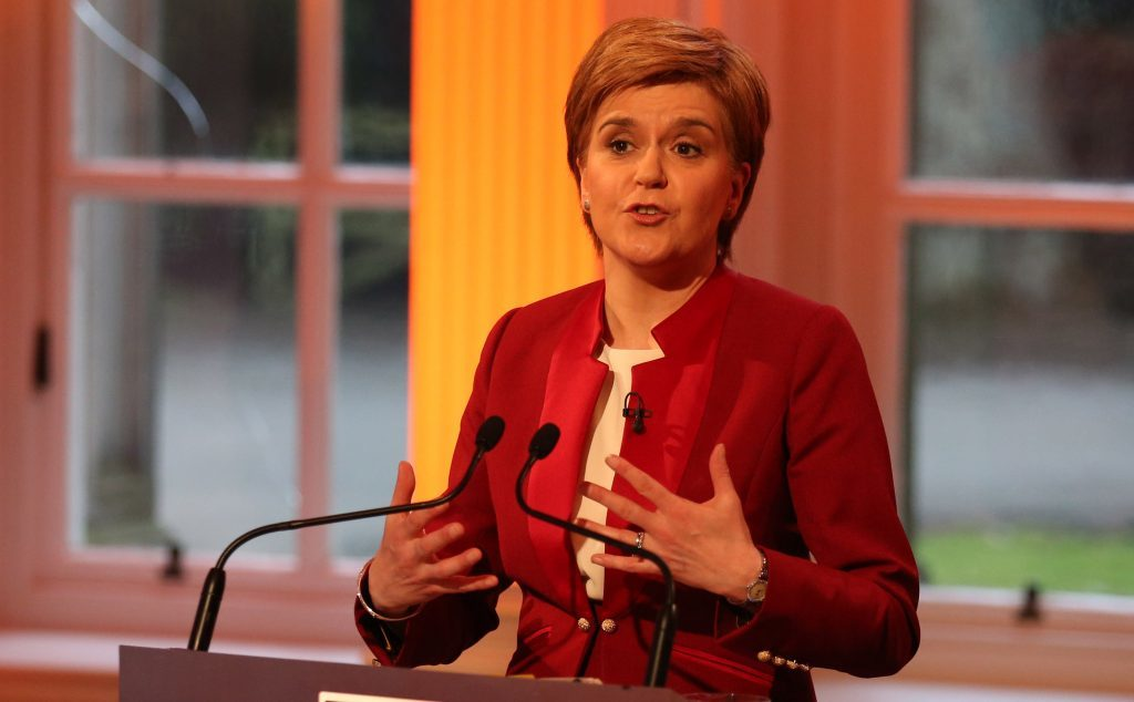 Scottish National Party leader Nicola Sturgeon during the TV debate.