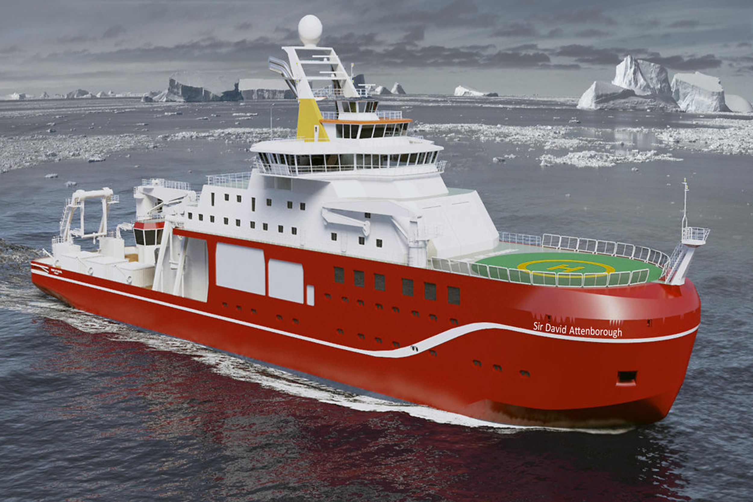 The new state-of-the-art polar research ship that is to be named RRS Sir David Attenborough.