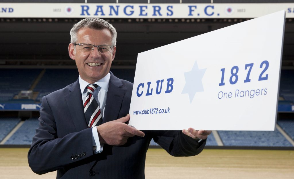 Rangers Managing Director Stewart Robertson and supporters launch 'Club 1872'.