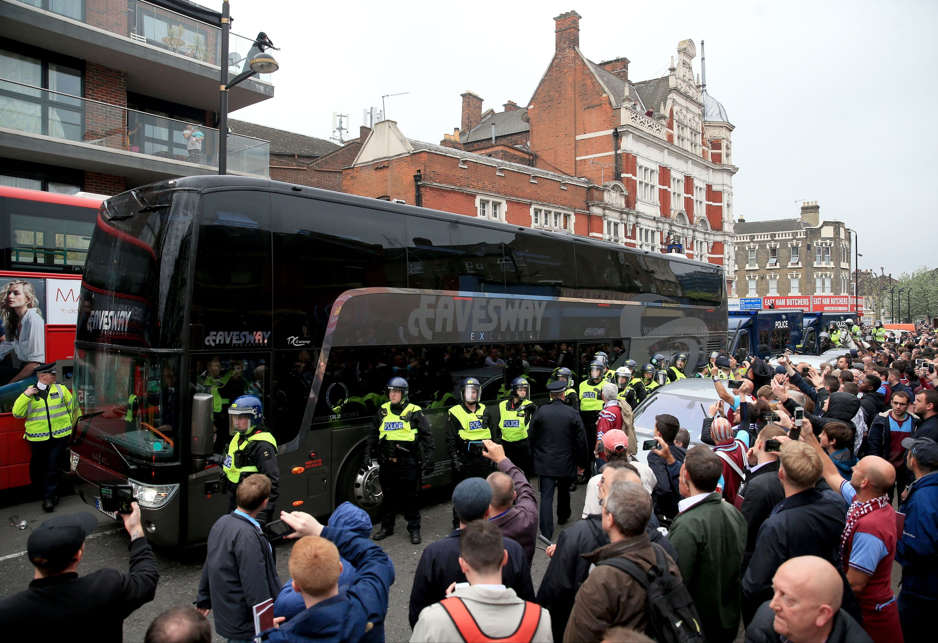The Manchester United team coach was pelted with missiles ahead of their match with West Ham.