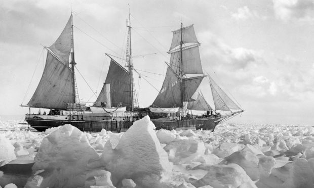 Endurance in full sail, taken when the crew felt they had a good chance of freeing the trapped ship from the ice of the Weddell Sea,