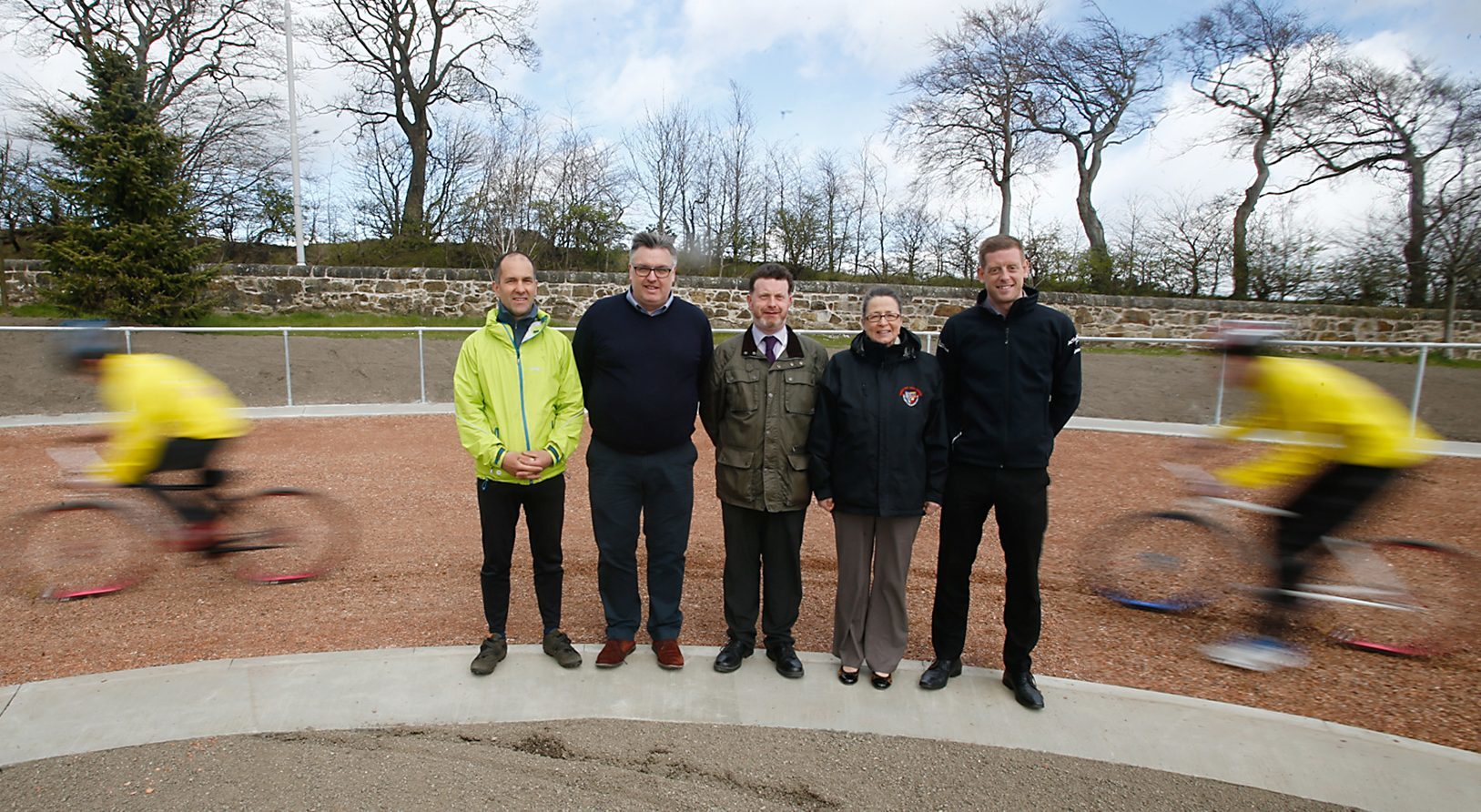 Andrew Baird, Craig Masson, Cllr Mark Hood, Jackie Campbell and Ben Geyer at the official opening.
