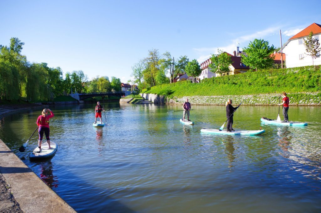 Group about to head along Ljubljanica river.